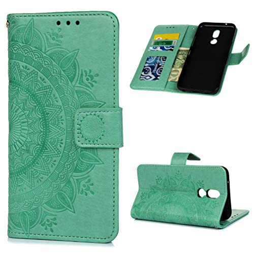 - Compatible with LG K40 Case,Embossed Front Buckle Leather TPU Inner Shell Anti-Scratch Shockproof Thin Mobile Phone Case.Totem Flower Mint Green