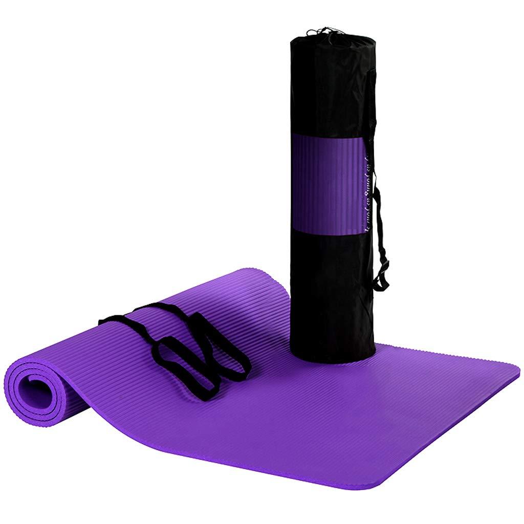Violet Queen Boutiques Version Améliorée De Tapis De Yoga 185  80cm Allongée élargie épaissie Tapis De Remise en Forme 10mm (y Compris Sac De Lanière) (Couleur   bleu)