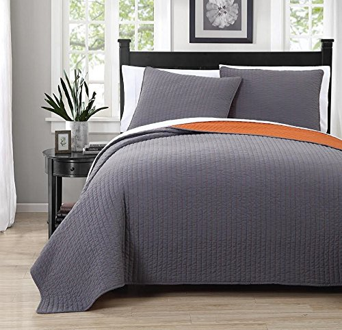 3 Piece Project Runway QUEEN Size Gray / Orange Color Super Luxurious Wrinkle Free Coverlet Bedspread Quilt Set with Pillow Shams, 100% MICROFIBER (Orange Quilted Bedspread compare prices)