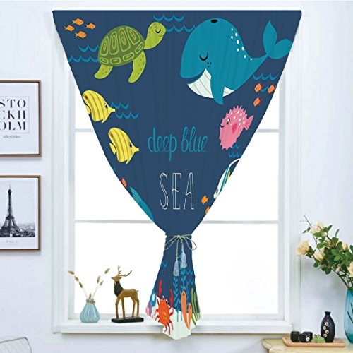 (Blackout Window Shades,Free Punching Magic Stickers Curtain,Cartoon Decor,Artsy Underwater Graphic with Algaes Coral Reefs Turtles Sword Fishes the Life Aquatic Motion,Multi,Paste style,for Living Roo)