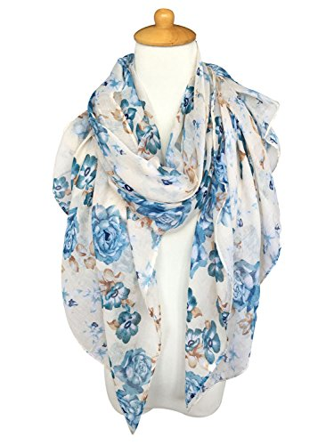 Review GERINLY Lightweight Scarves: Fashion Flowers Print Shawl Wrap For Women (Beige)