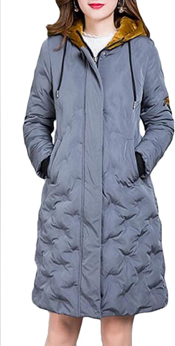 WNSY Women Relaxed-Fit Hoodie Large Size Embroidery Mid Length Parka Coat