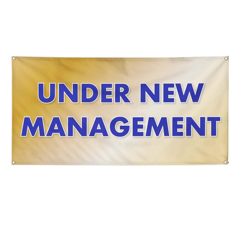6 Grommets 32inx80in Set of 2 Vinyl Banner Sign Under New Management #1 Style P Business Marketing Advertising Yellow Multiple Sizes Available