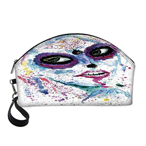 Girls Small Portable Cosmetic Bag,Grunge Halloween Lady with Sugar Skull Make Up Creepy Dead Face Gothic Woman Artsy For Women,One size -