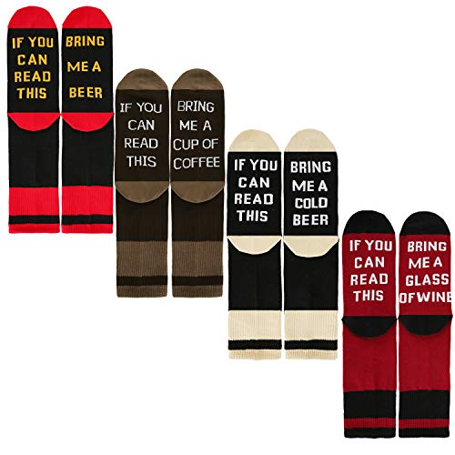 Zmart If You Can Read This Novelty Funny Saying Combed Cotton Crew Dress Beer Coffee Wine Socks