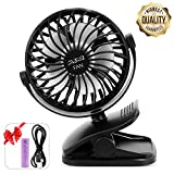ESEOE Clip on Fan, USB Or 2600mAh Rechargeable Battery Operated Fan Small Desk Fan with 4 Speeds, 360 Degree Rotation Portable Stroller Fan for Baby S (Black)