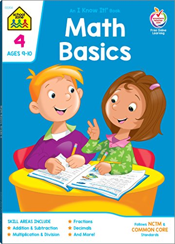School Zone - Math Basics 4 Deluxe Edition Workbook - Ages 9 to 10, Multiplication, Division Symmetry, Equivalent Fractions, Factors and Prime Numbers, and More