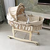 Decdeal Baby Travel Cradle Bassinet Bed wiith Adjustable Sunshade & Mosquito Net