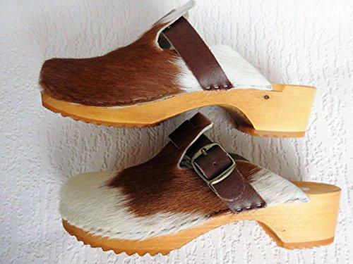4 01 41 Echt Leder Pantolette Gr Schweden 14 Made in Kuhfell CLOGS 8 Poland HOLZ BRAUN xZawIO