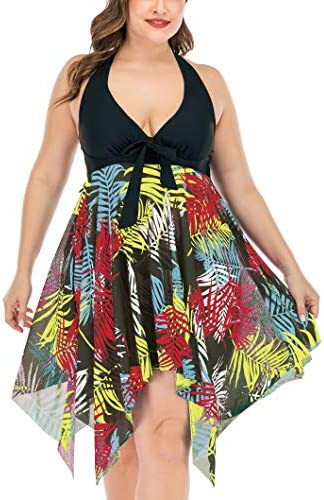 Women's Two Piece Swimsuit Plus Size Swimdress Bathing Suit Mesh Printed Tankini