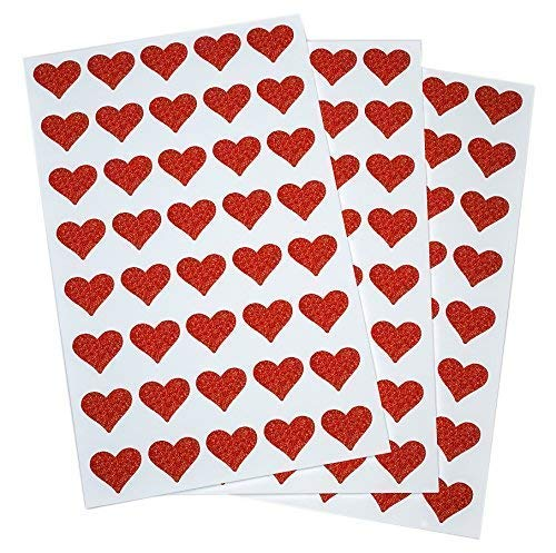 - Glitter Red Heart Stickers Envelope Seals for Invitations, Favors and Crafts - 200 Pack by Royal Green