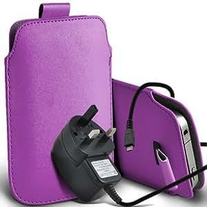 Huawei Ascend G615 de Protección Premium de PU tirón del cuero Tab Slip Cord En caso de la cubierta y Micro Pouch Pocket Skin USB CE aprobó 3 Pin Cargador de la lila por Spyrox