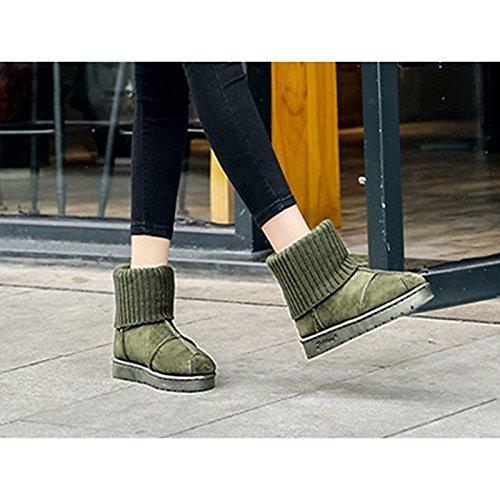 Toe verde tacco stivali grigio Scarpe per nero HSXZ stivali Winter Casual piatto Calf pu Boots Black rotondo donna Snow Mid 4ngap7x