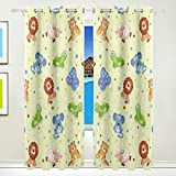 Vantaso Window Curtains 84 Inch Long Forest Animals Polka Dots Elephant for Kids Girls Boys Bedroom Living Room Light Shading Polyester 2 Pannels