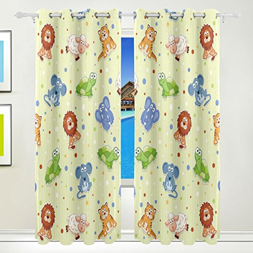Vantaso Window Curtains 84 Inch Long Forest Animals Polka Dots Elephant for Kids Girls Boys Bedroom Living Room Light Shading Polyester 2 Pannels by Vantaso