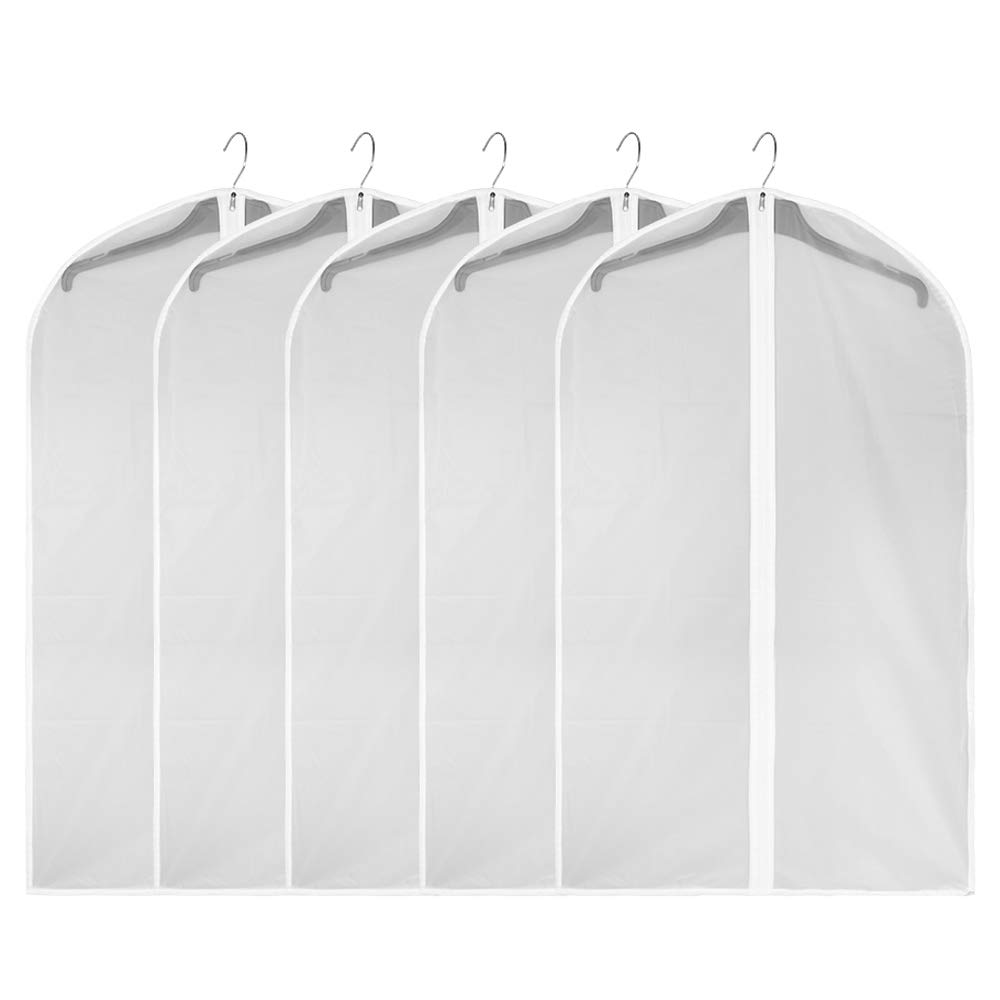 Bidear Garment Bag Clothes Organizer Dustproof and Mothproof Clothes Cover Protector Suit Bag (Clear-40IN)