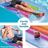 """SEWANTA King Kool Inflatable Lounge with Headrest & Cup Holder 59"""" X 25"""" [Set of 2] Inflatable Pool Lounger for Adults, Float Comes in 2 Fun Colors; Blue & Pearlescent Silver, Bundled with 2 Duckies"""
