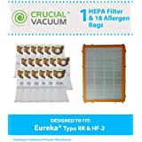 Filter/Bag kit for Eureka 4800 Series Upright Vacuums w/HF2 Filter & 9 Style RR Vacuum Bags; Compare to Eureka Part No. 6115, 63295, 61111; Designed & Engineered by Think Crucial