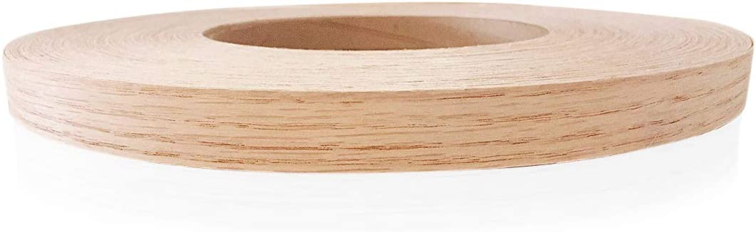 """Edge Supply Red Oak 3/4"""" X 250' Roll of Plywood Edge Banding – Pre-glued Real Wood Veneer Edging – Flexible Veneer Edging – Easy Application Iron-on Edge Banding for Furniture Restoration, Made in USA"""
