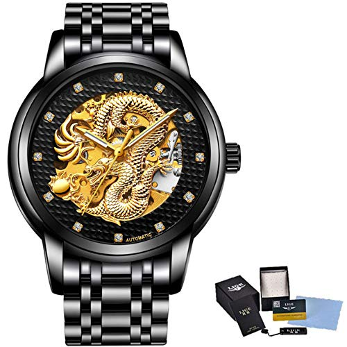 Dragon Skeleton Automatic Mechanical Watches for Men Wrist Watch Stainless Steel Strap Gold Clock 30m Waterproof Mens Watch 47 (All Black Gold -