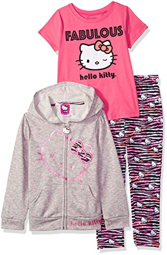 Hello Kitty Girls' Big 3 Piece Zip Up Hoodie Legging Set with T-Shirt, Heather Grey, 10 -