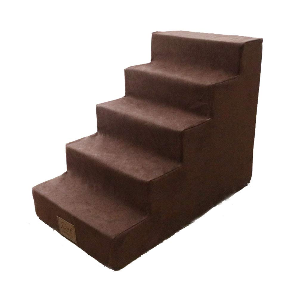 UTOPIAY Dog Stairs Suede Washable Soft Cat and Dog 5 Steps Climbing Environmentally Friendly Sponge Stairs Small Dog Teddy Sofa Bed Ladder