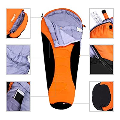 Enkeeo Mummy Camping Sleeping Bag 3 - 4 Season Ultralight Portable Sleeping Bag with Waterproof Taffeta Shell Breathable Hollow Cotton Compression Sack for 0 Degree Traveling, Hiking, Backpacking