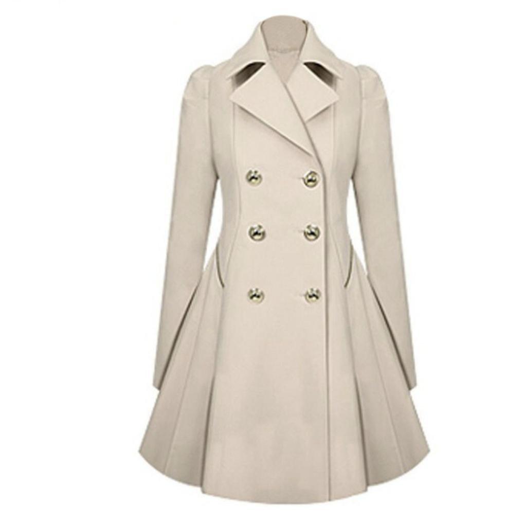 Elevin Fashion Women Lapel Neck Outwear Warm Trench Button Jacket Parka Coats TM
