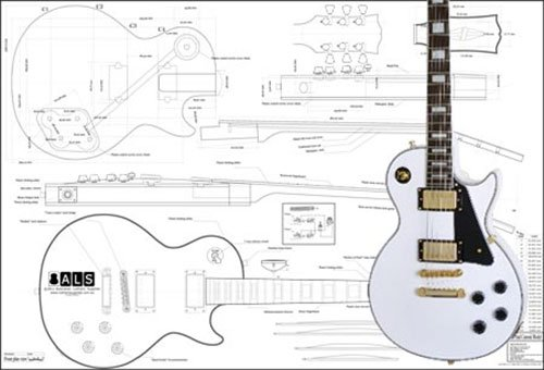 Plan of Gibson Les Paul Custom Electric Guitar - Full Scale - Les Electric Custom Paul Guitar