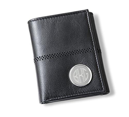 Personalized Men's Black Leather Tri-Fold Wallet - Circle Monogram