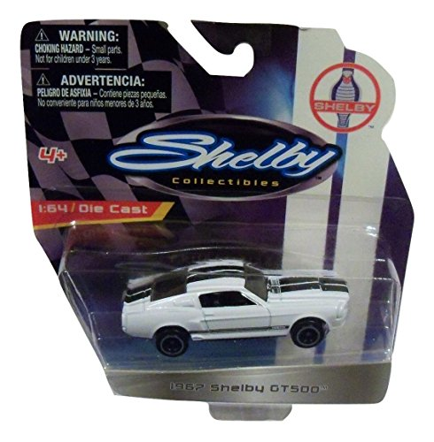 Shelby Collectibles Officially Licensed Ford 1:64 Die-cast Vehicle ~ 1967 Shelby GT500 (White with Dual Black Racing (Shelby Gt500 Replica)