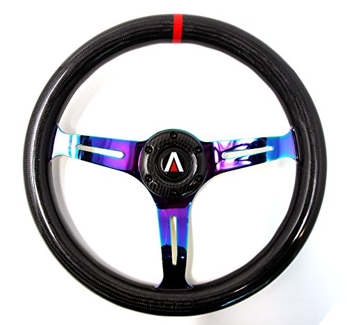 Tanaka 350mm 6 Bolt real Carbon Fiber Steering Wheel Universal with Black Bolt (Neo Chrome)