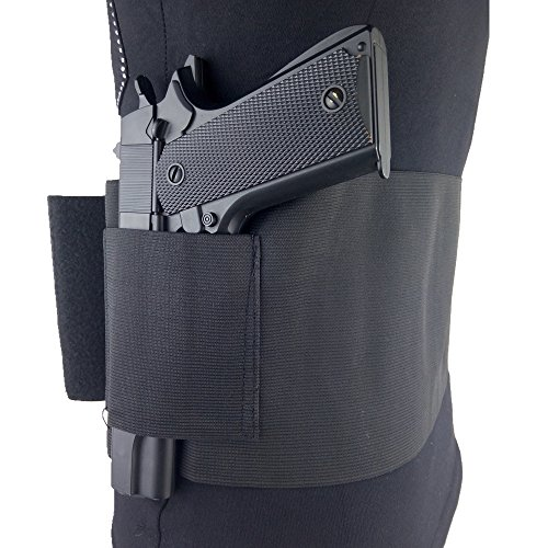 """Loglife Concealed Belly Band Gun Holster Under Cover Elastic Abdominal Band Pistol Holster with 2 Magazine Pouch for 38"""" to 50"""" Waist Fits Glock, Ruger LCP, M&P, Sig Sauer, Ruger, Kahr, Beretta, 1911"""