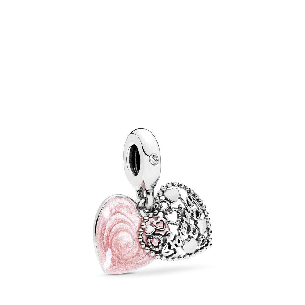 PANDORA Love Makes A Family Dangle Charm, Sterling Silver, Pink Enamel & Clear Cubic Zirconia, One Size by PANDORA