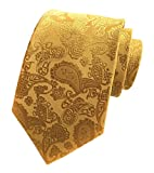 Elfeves Mens Golden Jacquard Silk Ties Handmade Casual Party Luxurious Neckties