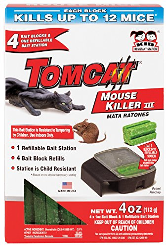 Tomcat Mouse Killer III (Kid Resistant Refillable Mouse Bait Station, Box w/ 8 Bait Blocks)