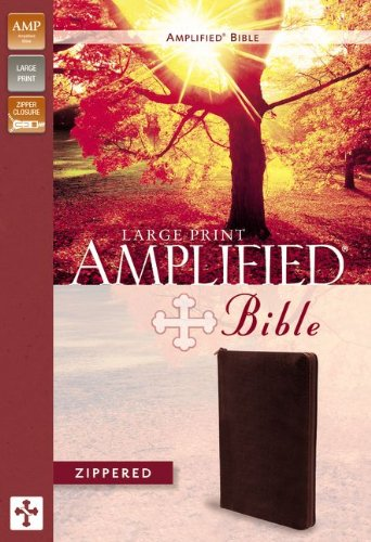 Amplified Zippered Collection Bible, Large Print, Bonded Leather, Burgundy