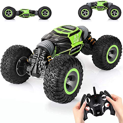 SteamPrime Remote Control Car,2.4 GHZ High Speed Stunt RC Racing Cars RC Rock Crawler w/ Rechargeable Batteries,Indoor Outdoor Motors Vehicles Buggy Hobby Car Toy Gifts for Kids Boys Girls Adult-Green