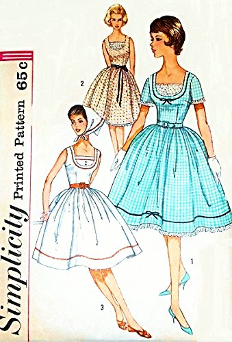 Simplicity 3918 Misses Rockabilly One-Piece Bombshell Dress Sewing Pattern, Size 14, Bust 34 Vintage 1960s Wedding