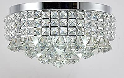 Top Lighting Chrome Finish Iron Shade Crystal Flush Mount Chandelier