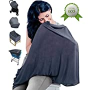 Breastfeeding Nursing Cover (Elegant Gray) - Supreme Quality 100% Cotton Carseat Canopy - Unisex Baby Cover For Stroller, High Chair, Baby Carrier, Shopping Cart - Multi-Use Nursing Scarf