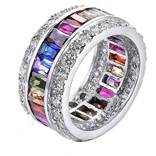 Mutlicolor Gemstone Ring with Morganite Blue Topaz Garnet Amethyst Ruby Pink Kunzite Aquamarine, 925 Silver Band for women, girl - Aquamarine Seal