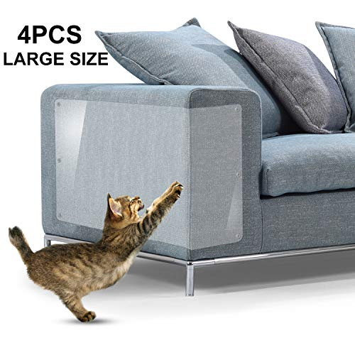 IN HAND Furniture Scratch Guards, 4Pcs X-Large Premium Flexible Vinyl Cat Couch Protector Guards with Pins for Protecting Your Upholstered Furniture, Cat Scratch Deterrent Pad, 18