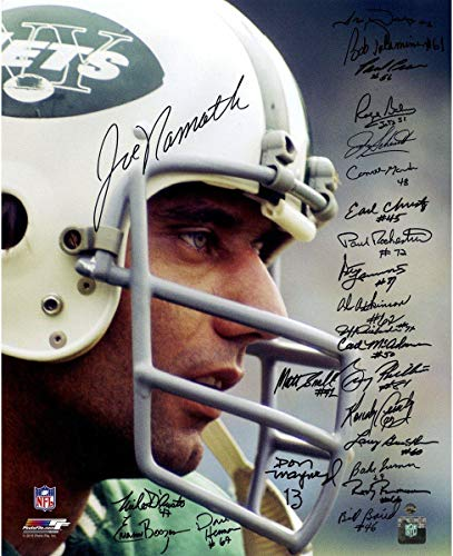 - 1969 New York Jets Team Signed Joe Namath Close Up Wearing Helmet 16x20 Photo (24 Signatures) - Steiner Sports Certified