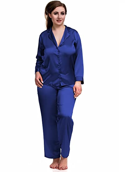 2aa7e8e39f Nine X Plus Size Lingerie S-6XL Satin Pyjamas Long Sleeve Nightwear Black  PJ s Blue