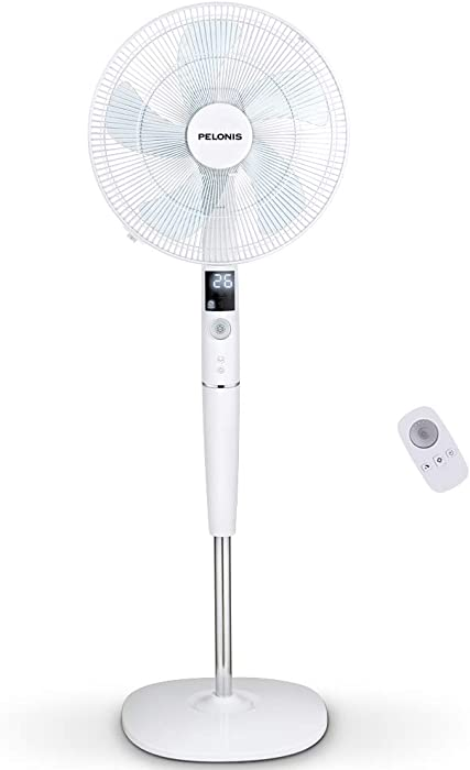 Pelonis Fan, Quiet DC Motor Oscillating Standing Pedestal Fan with Powerful 26 Speed, 5 Silent Modes, 12h On/Off Timer, Adjustable Height and Tilt, Remote Control, 16-Inch, White