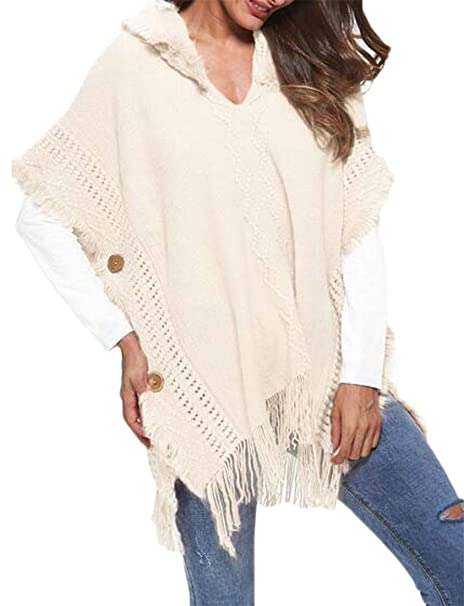1bb20d9e8fa9a Cromoncent Womens Loose Fit Irregular Hollow 1 2 Sleeve Hooded Tassel Plus  Size Knit Buttons Trim Cloak Pullover Sweater at Amazon Women s Clothing  store