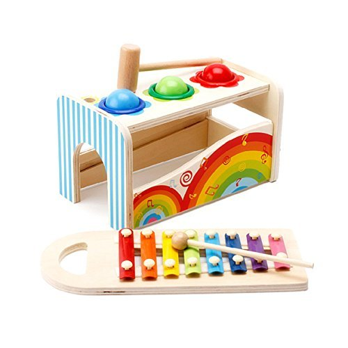 Price comparison product image Jerisam 2 in 1 Kids Toys Xylophone Glockenspiel Percussion Instrument Colored Metal Keys Early Educational Toys for Toddlers