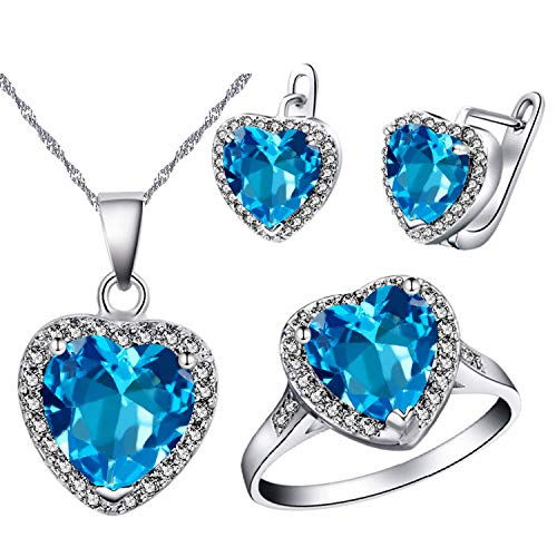 - Uloveido White Gold Plated Large Blue Stone Heart Earrings Necklace Pendant and Charm Anniversary Rings Jewelry Set for Bridal Women T481