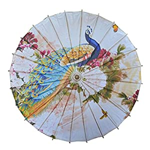 1920s Accessories Chinese/Japanese Style Paper Umbrella Parasol 33-Inch Peacock $32.97 AT vintagedancer.com